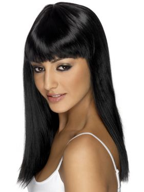 80's Glamourama Wig with Fringe in Black